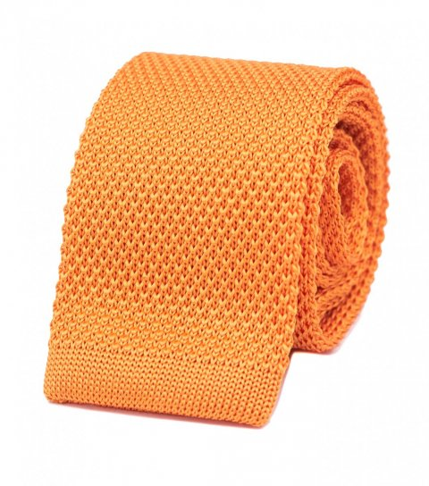 Yellow silk knitted tie