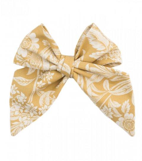 Hořčicová dámská kravata s květy