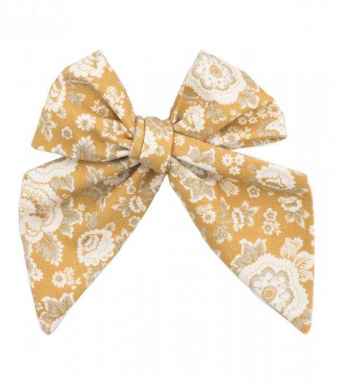 Horčicová dámská kravata s ornamentem