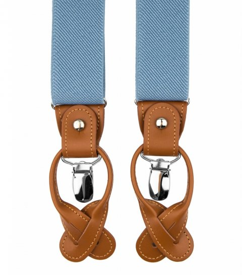 Blue button and clip suspenders for men