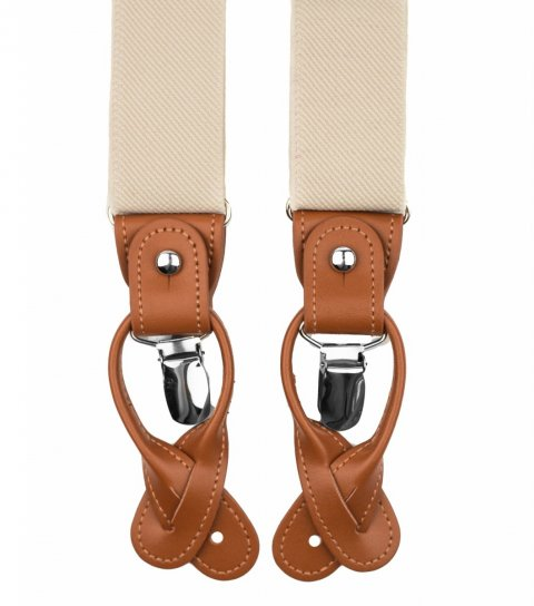 Ivory button and clip suspenders for men