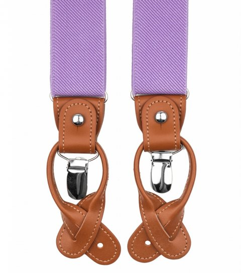 Lilac button and clip suspenders for men