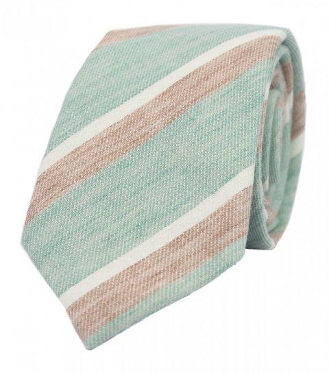 Mint beige stripes necktie