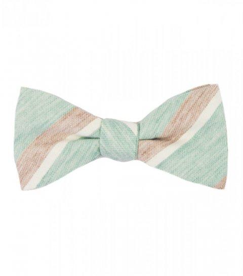 Mint beige stripes self-tie bow tie