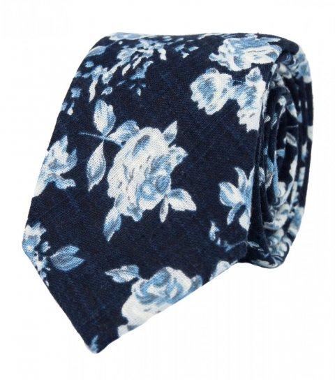 Tmavomodrá kravata s bílými květy