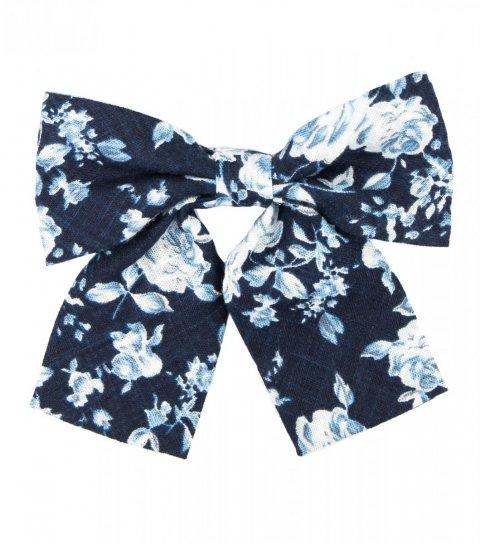 Navy blue floral ladies bow tie