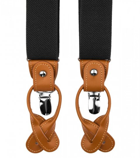 Black button and clip suspenders with brown leather