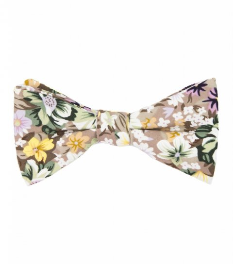 Beige floral bow tie