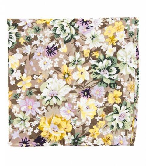 Béžová vreckovka do saka s kvetmi