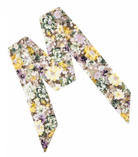 Béžová dámska mašľa s kvetmi