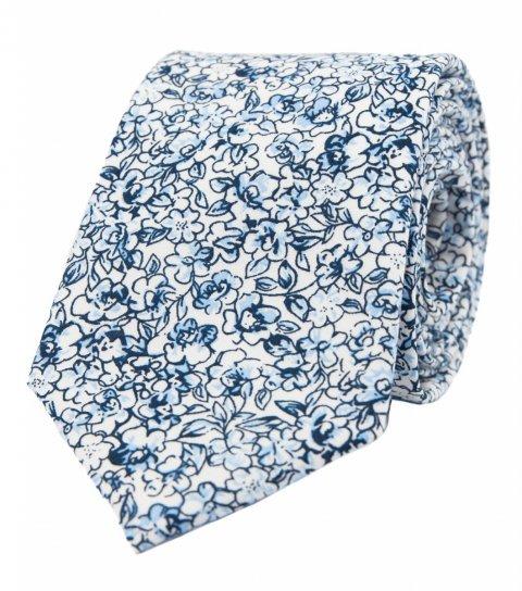White blue floral necktie