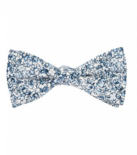 White blue floral self-tie bow tie