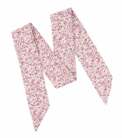 Bílá dámská mašle s růžovými kytičkami