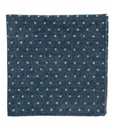 Modrý kapesníček do saka s puntíky