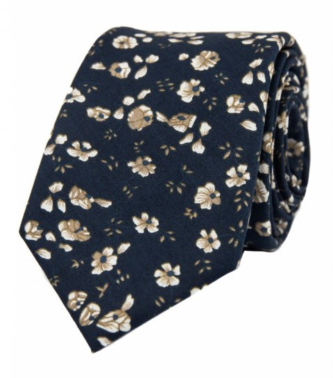 Tmavomodrá kravata s hnedými kvietkami