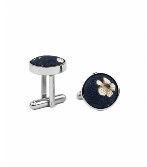 Navy blue and brown floral cufflinks