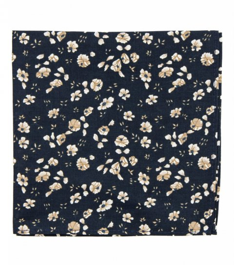 Navy blue and brown floral pocket square
