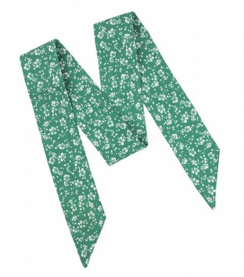 Zelená dámská mašle s kytičkami