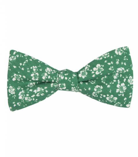 Green floral self-tie bow tie