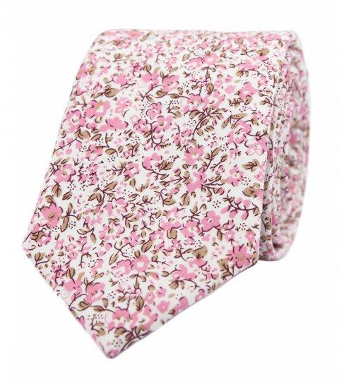 Bílá kravata s růžovými kytičkami