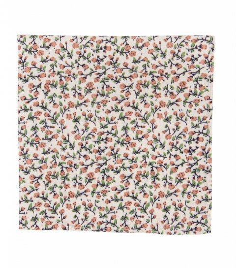 Cream and brown floral pocket square