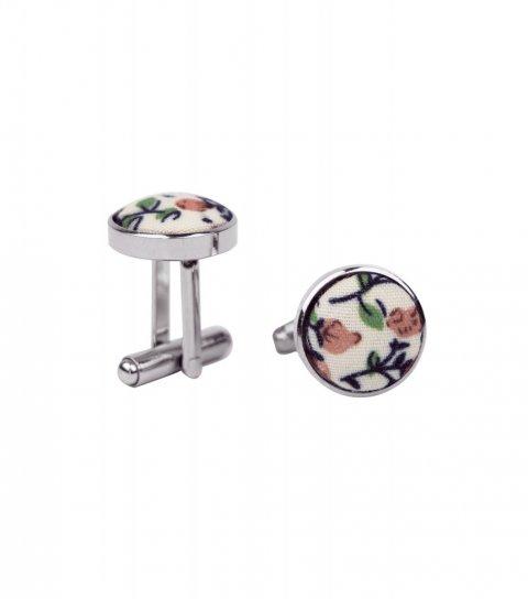 Krémové manžetové gombíky s hnedými kvietkami