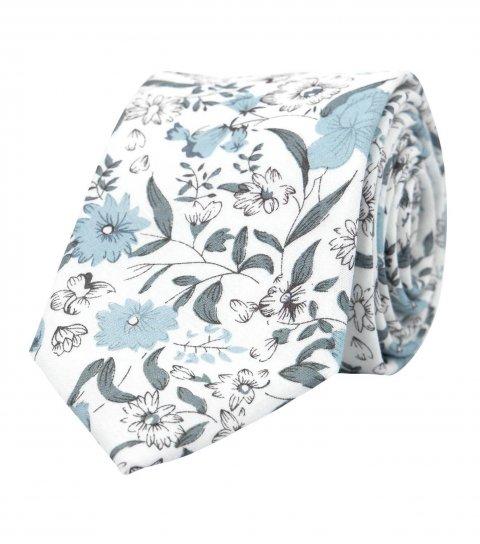 Bílá kravata se šedomodrými květy