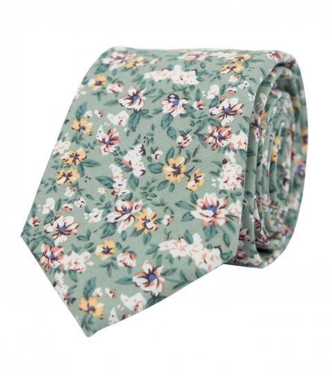 Zelená kravata Sage Green s kvietkami