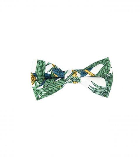 White green palms kids bow tie