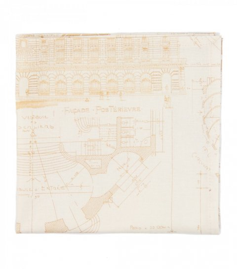 Beige blueprints pocket square