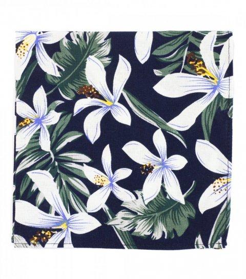 Tmavomodrý kapesníček do saka s tropickými květy