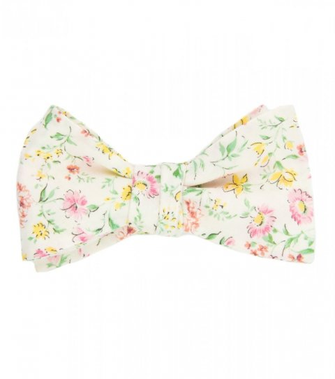 Cream floral self-tie bow tie