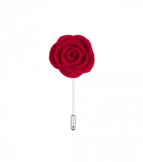 Red felt lapel flower
