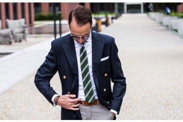 Green silk striped necktie