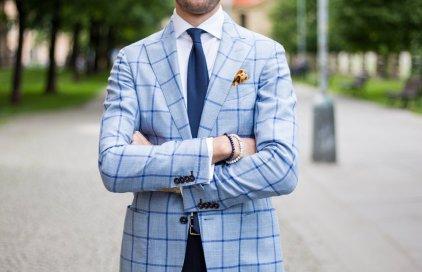 Navy tie and Summer blazer