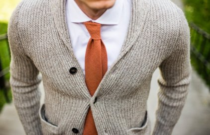 Woolen orange necktie