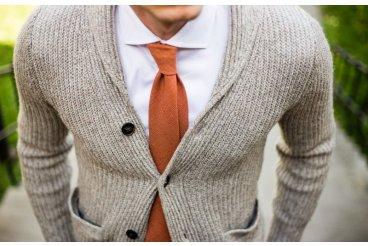 Vlnená oranžová kravata