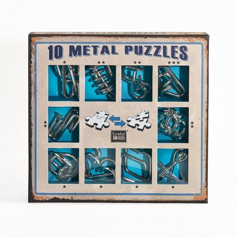ALBI Sada 10 hlavolamů kov modrá