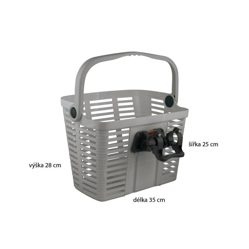 košík plastový na řídítka KLICK FIX, stříbrný