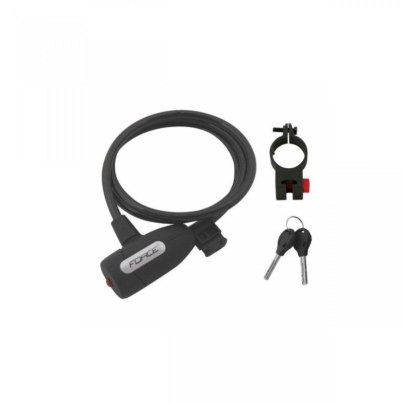 zámek F LUX spirálový s držákem 120cm/8mm, černý