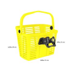 košík plastový na řídítka KLICK FIX, žlutý