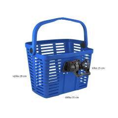 košík plastový na řídítka KLICK FIX, modrý