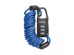 zámek F SMALL spirálový kódový 120cm/3mm, modrý