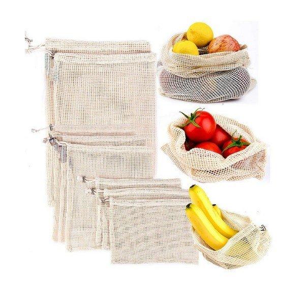 Gyapotból készült hálózacskó gyümölcsre és zöldségre 25x17 cm