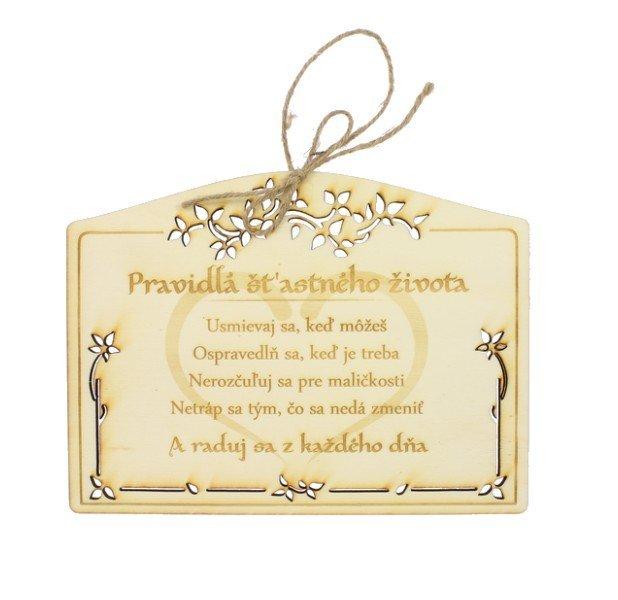 Drevená darčeková ceduľka Pravidlá života