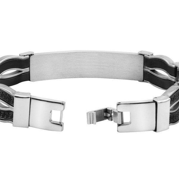 Férfi karkötő ETERNITY fekete és ezüst színű