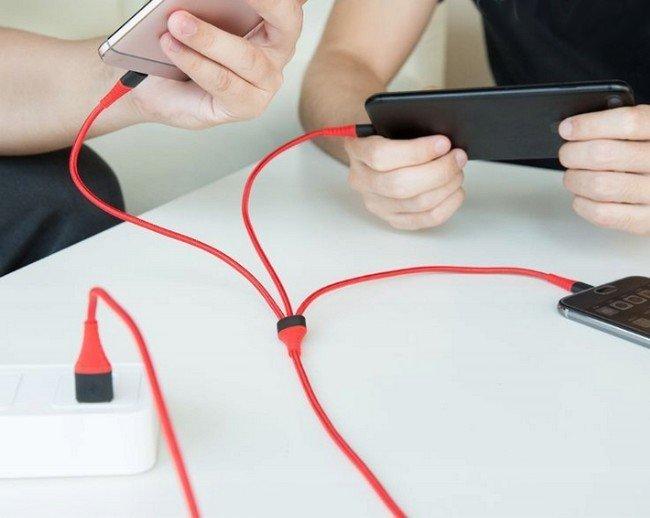 Nabíjecí kabel 3v1 Micro USB + iPhone Lightning + USB-C
