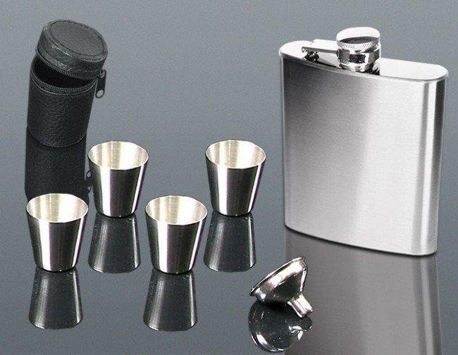 Nerezová placatka 210 ml s 4x pohárky a nálevkou