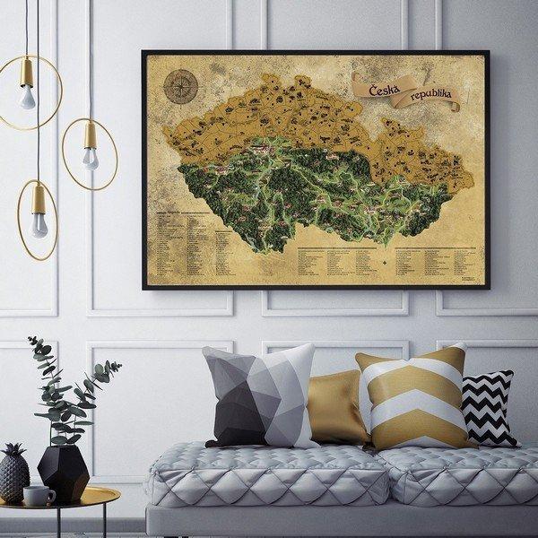 Csehország lekaparó térkép DELUXE XL arany