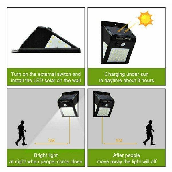 Solárne vonkajšie 40 LED SMD osvetlenie s pohybovým senzorom